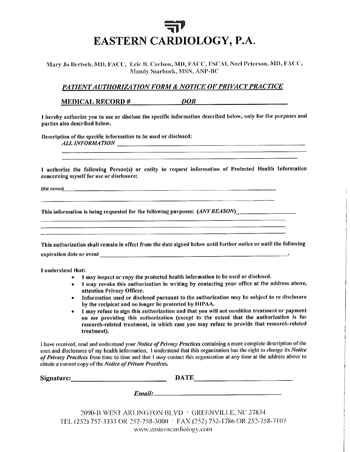 image shows Patient Authorization & Notice of Privacy form for Dr. Noel Peterson of Eastern Cardiology in Greenville NC