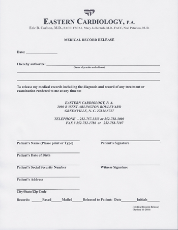 image shows Medical Record Release form for Dr. Noel Peterson of Eastern Cardiology in Greenville NC